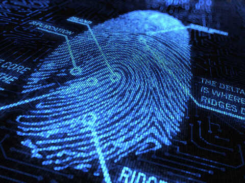 Futeristic blue image of a fingerprint