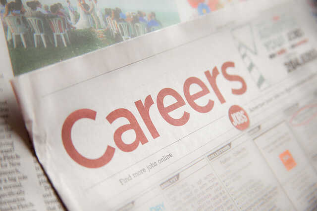 Close up of the Careers section of a newspaper