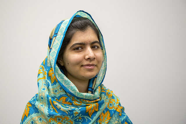 Photograph of Nobel Prize Winner Malala Yousafzai in a patterned headscarf