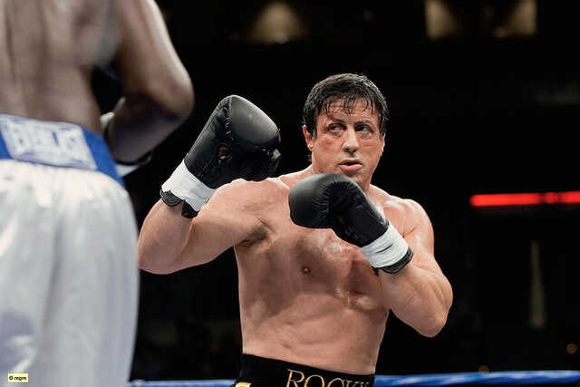 Rocky Balboa with black gloves in the ring