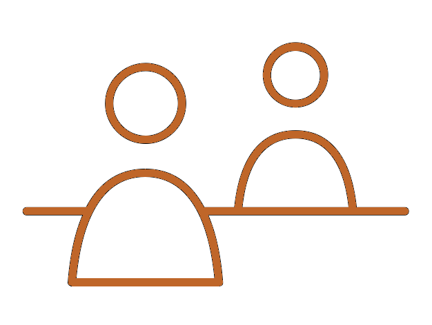 Orange icon of table people sitting across a table