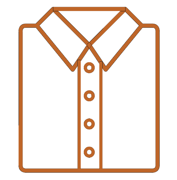 Orange icon of a folded shirt