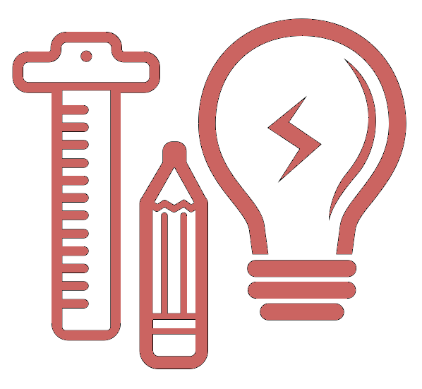 Pink icon of a lightbulb, pencil and ruler