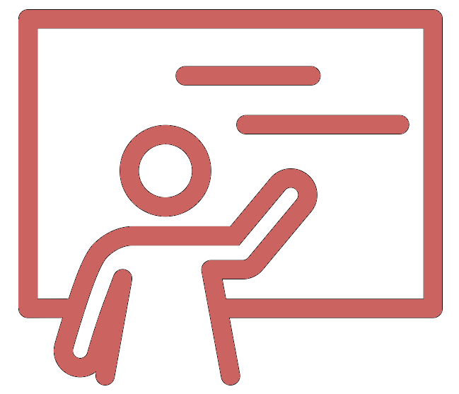 Pink icon of a teacher at a blackboard