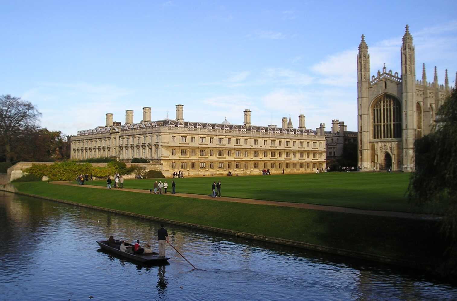 Trinity College Cambridge with the river Cam in the foreground