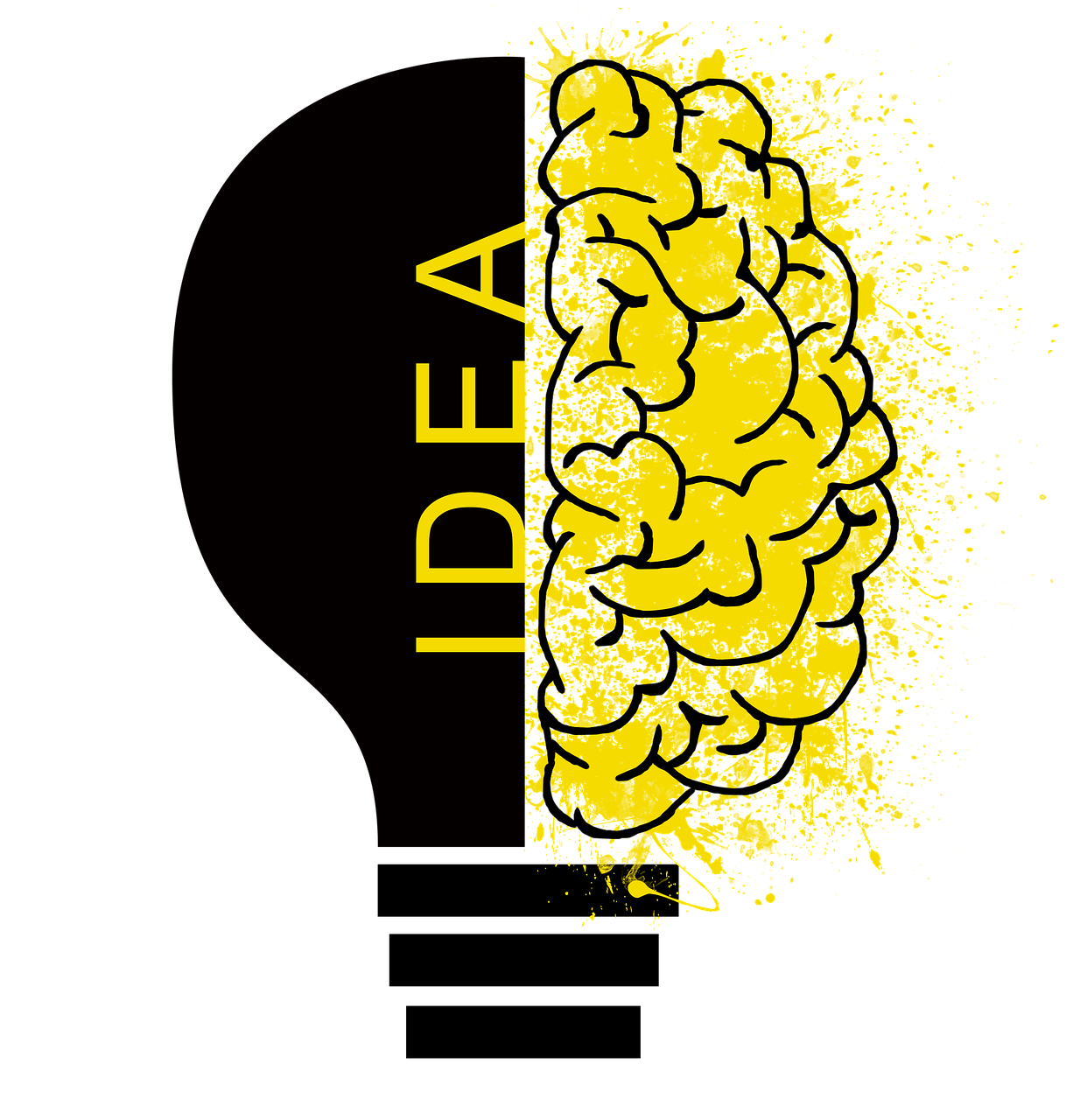A brain, one half yellow, the other half made up of a black lightbulb with the word idea