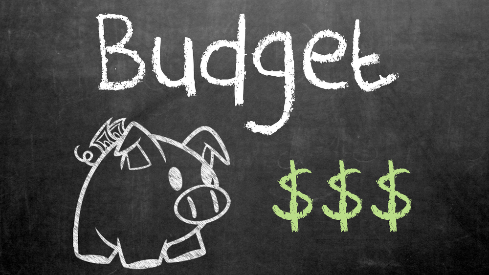 The word Budget on a chalkboard along with a piggy bank and three dollar signs in green chalk
