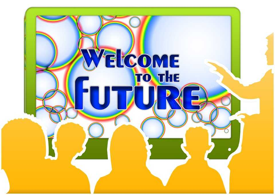 Graphic of a teacher pointing to a whiteboard saying Welcome to the Future