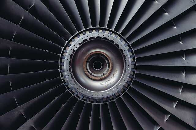 Close up of a jet engine