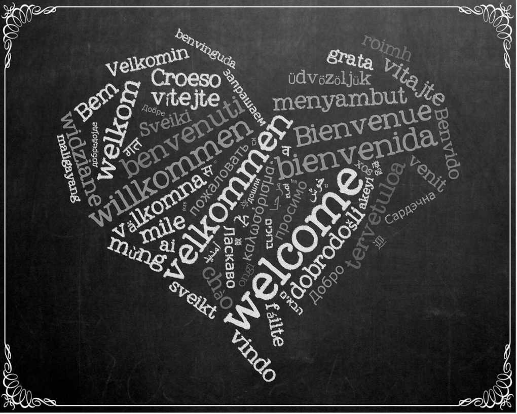 A heart written in the word Welcome in different languages