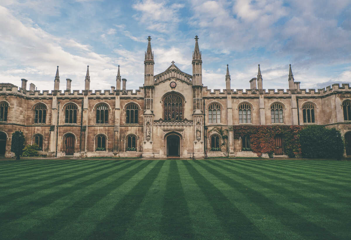 Oxford college quad with freshly mowed grass