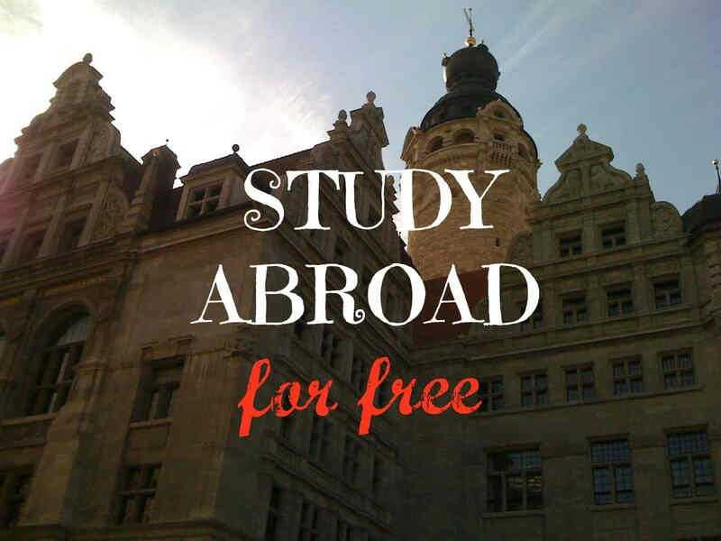 European building with the words Study Abroad for free in the foreground