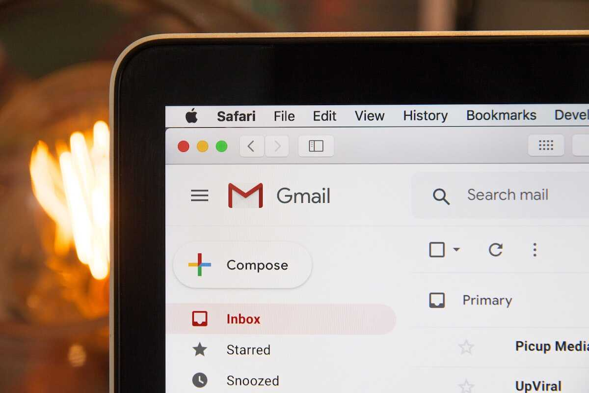 Close up of Gmail on a laptop