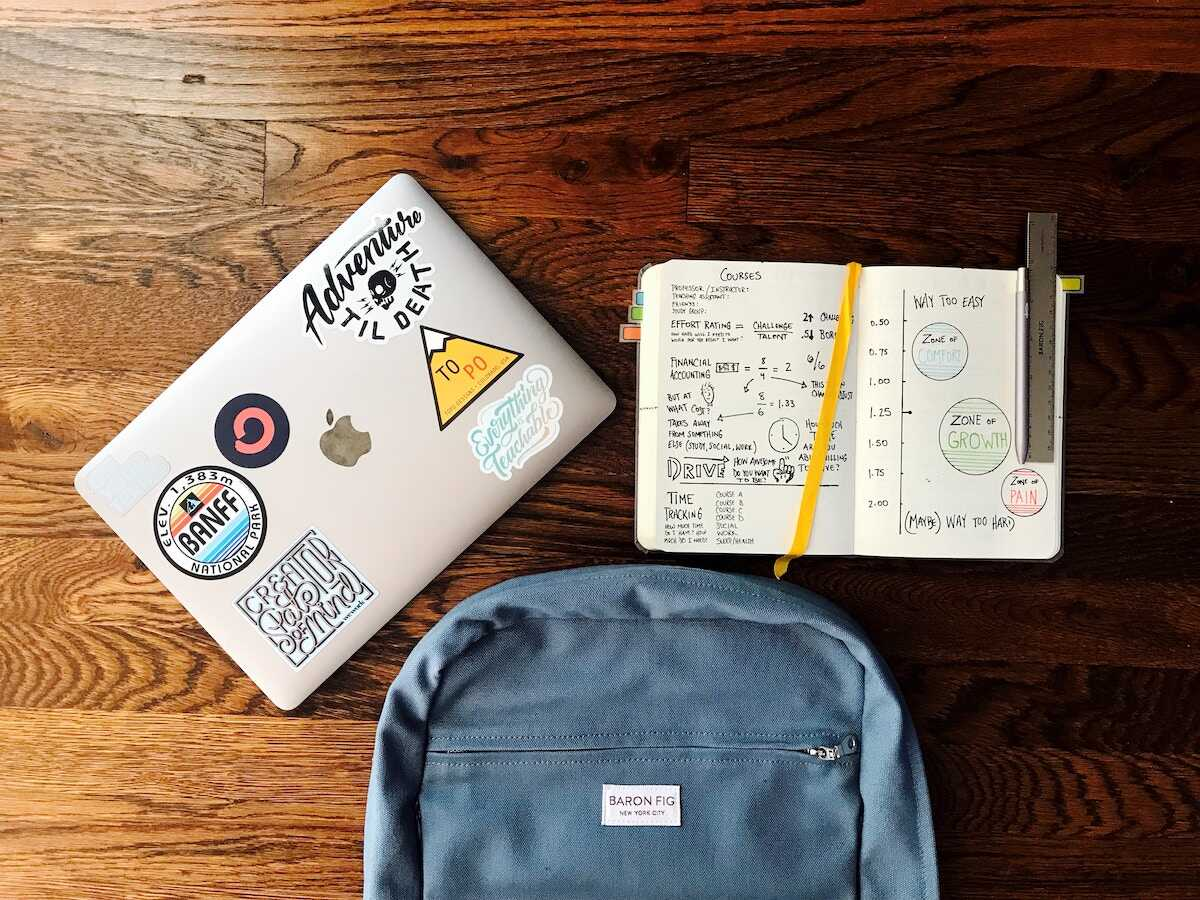 A flatlay featuring an Apple laptop, bullet journal, metal ruler, and blue Baran Fig backpack