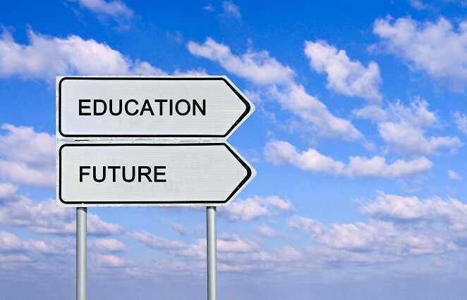 Traffic sign saying education and future