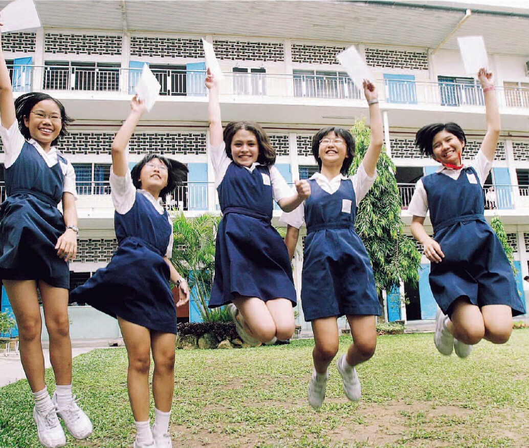 Five Malaysian school students jumping for joy at their exam results